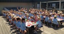 年中クラスがテラスで給食を食べました!